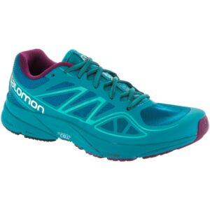 Salmon Sonic Aero: Salomon Women's Trail Running Shoes Fog Blue/Teal Blue