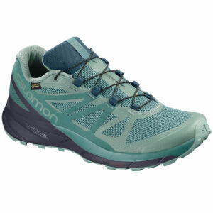Salomon Women's Sense Ride Gtx Invisible Fit Waterproof Trail Running Shoes - Green - Size 7