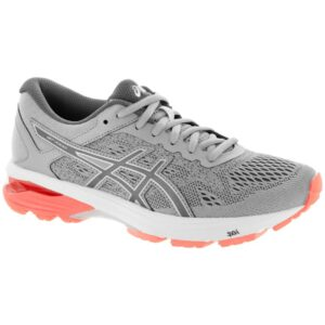 ASICS GT-1000 6 Women's Running Shoes Mid Grey/Carbon/Flash Coral Size 6 Width D - Wide