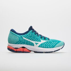 Mizuno Waveknit R2 Women's Running Shoes Peacock Blue/Fiery Coral Size 9.5 Width B - Medium
