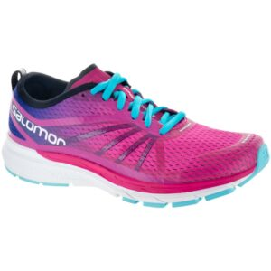 Salomon Sonic RA Pro Women's Running Shoes Pink Yarrow/Surf The Web/Blue Curacao Size 7.5 Width B - Medium