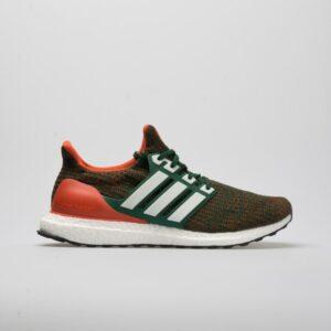adidas Ultraboost Men's Running Shoes Dark Green/Footwear White/Core Orange Size 8 Width D - Medium