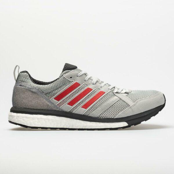 adidas adizero Tempo 9 Men's Running Shoes Grey/Hi-Res Red/Carbon Size 8.5 Width D - Medium